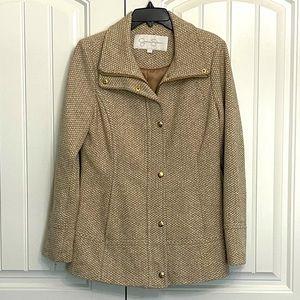 Jessica Simpson tan & cream tailored herringbone button & front zip pea coat; M